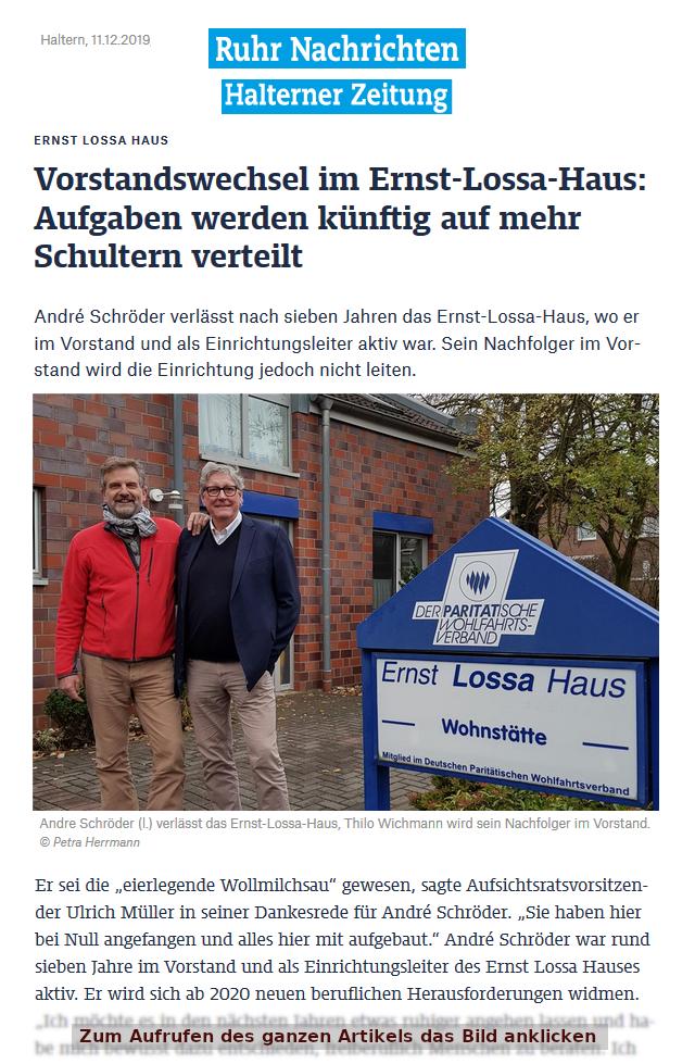 Vorstandswechsel, Artikel Halterner Zeitung